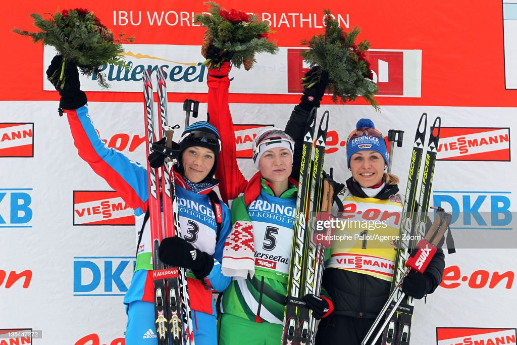 <a gi-track='captionPersonalityLinkClicked' href=/galleries/search?phrase=Darya+Domracheva&family=editorial&specificpeople=4105955 ng-click='$event.stopPropagation()'>Darya Domracheva</a> of Belarus takes 1st place, <a gi-track='captionPersonalityLinkClicked' href=/galleries/search?phrase=Olga+Zaitseva&family=editorial&specificpeople=723918 ng-click='$event.stopPropagation()'>Olga Zaitseva</a> of Russia takes 2nd place, <a gi-track='captionPersonalityLinkClicked' href=/galleries/search?phrase=Magdalena+Neuner&family=editorial&specificpeople=2095093 ng-click='$event.stopPropagation()'>Magdalena Neuner</a> of Germany takes 3rd place during the IBU Biathlon World Cup WomenÕs Pursuit on December 10, 2011 in Hochfilzen, Austria.