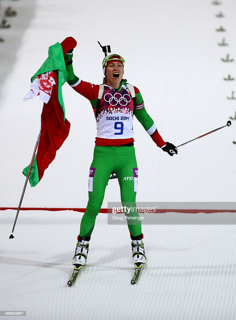 <a gi-track='captionPersonalityLinkClicked' href=/galleries/search?phrase=Darya+Domracheva&family=editorial&specificpeople=4105955 ng-click='$event.stopPropagation()'>Darya Domracheva</a> of Belarus wins the Women's 10 km Pursuit during day four of the Sochi 2014 Winter Olympics at Laura Cross-country Ski & Biathlon Center on February 11, 2014 in Sochi, Russia.