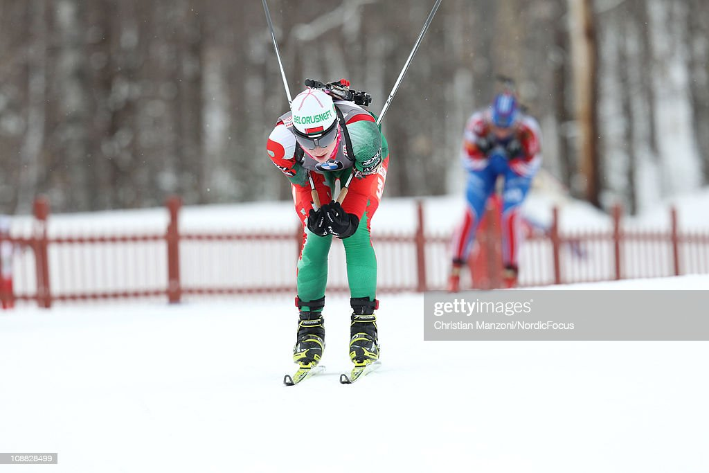 Darya Domratcheva of Belarus competes in the women's sprint during the E.ON IBU Biathlon World Cup on February 4, 2011 in Presque Isle, United States.