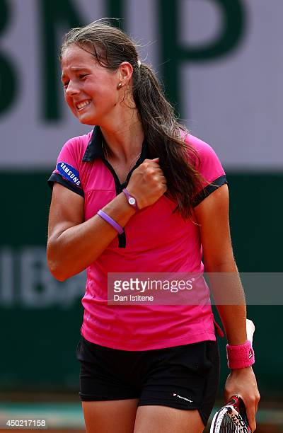 Darya Kasatkina of Russia celebrates match point in the girls' singles final match against Ivana Jorovic of Serbia on day fourteen of the French Open...