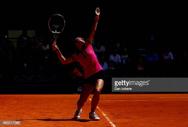 Darya Kasatkina of Russia serves during the girls' singles final match against Ivana Jorovic of Serbia on day fourteen of the French Open at Roland...