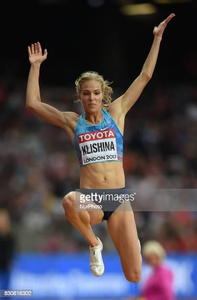 Darya Klishina jumps in the long jump final in London at the 2017 IAAF World Championships athletics at the London Stadium in London on August 11 2017