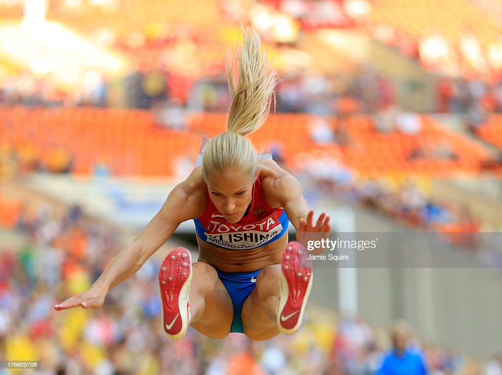 <a gi-track='captionPersonalityLinkClicked' href=/galleries/search?phrase=Darya+Klishina&family=editorial&specificpeople=4406149 ng-click='$event.stopPropagation()'>Darya Klishina</a> of Russia competes in the Women's Long Jump qualification during Day One of the 14th IAAF World Athletics Championships Moscow 2013 at Luzhniki Stadium on August 10, 2013 in Moscow, Russia.