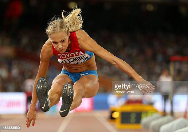 Darya Klishina of Russia competes in the Women's Long Jump final during day seven of the 15th IAAF World Athletics Championships Beijing 2015 at...