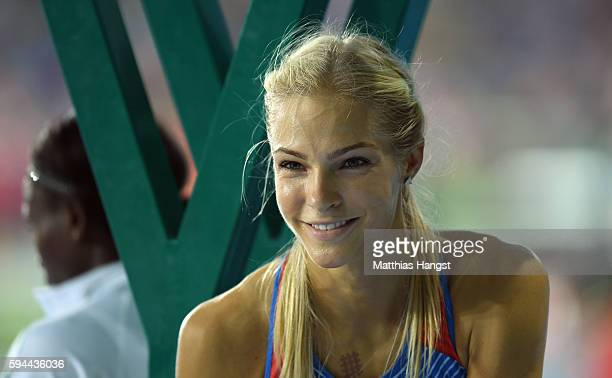 Darya Klishina of Russia is seen preparing for the Women's Long Jump final on Day 12 of the Rio 2016 Olympic Games at the Olympic Stadium on August...