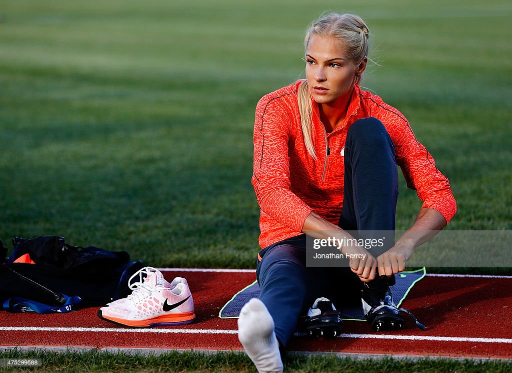 <a gi-track='captionPersonalityLinkClicked' href=/galleries/search?phrase=Darya+Klishina&family=editorial&specificpeople=4406149 ng-click='$event.stopPropagation()'>Darya Klishina</a> of Russia warms up before the long jump during Day 1 of the IAAF Diamond League Prefontaine Classic at Hayward Field on May 29, 2015 in Eugene, Oregon.