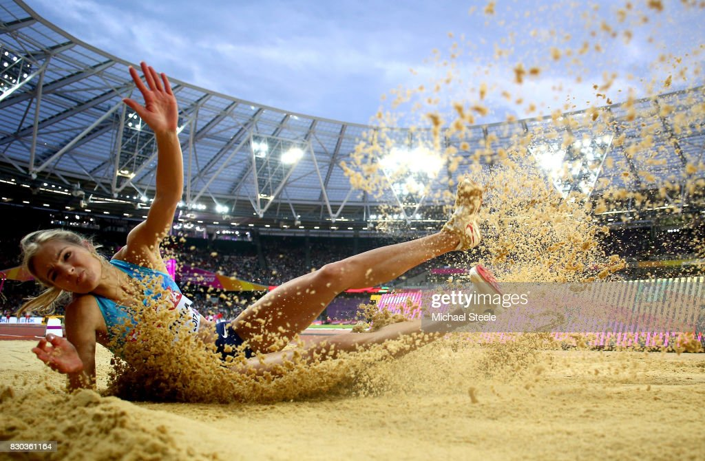 Darya Klishina of the Authorised Neutral Athletes competes in the Women's Long Jump final during day eight of the 16th IAAF World Athletics Championships London 2017 at The London Stadium on August 11, 2017 in London, United Kingdom.