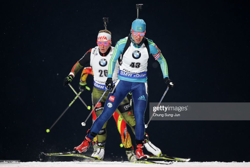 Darya Usanova of Kazakhstan competes during the Woman 7.5km Sprint during the BMW IBU World Cup Biathlon 2017 - test event for PyeongChang 2018 Winter Olympic Games at Alpensia Biathlon Centre on March 2, 2017 in Pyeongchang-gun, South Korea.