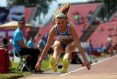 Daryia Derkach of Italy competes in the final of the Long Jump during day four of The European Athletics U23 Championships 2013 on July 14 2013 in...