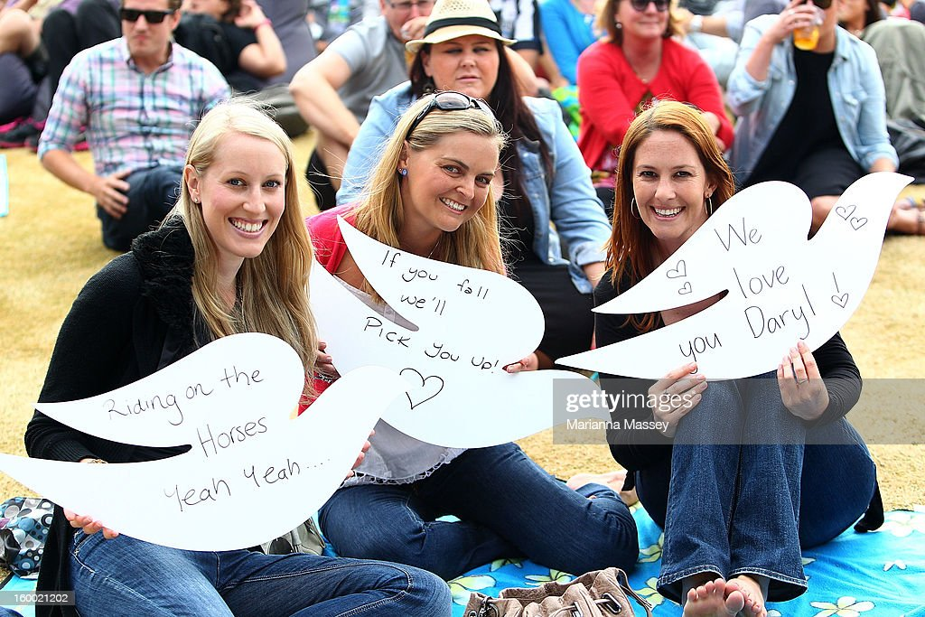 Daryl Braithwaite fans in the Heienken Live Stage crowd during day twelve of the 2013 Australian Open at Melbourne Park on January 25, 2013 in Melbourne, Australia.