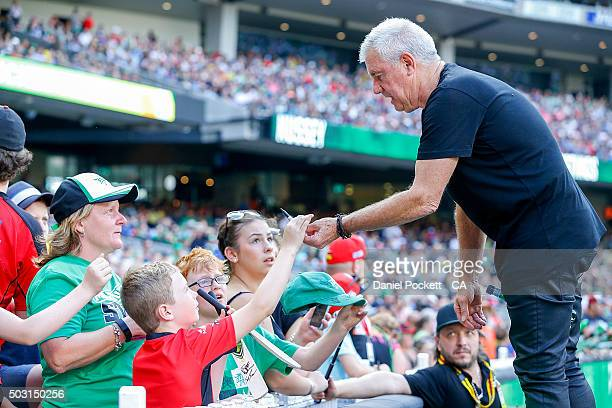 Daryl Braithwaite greets fans after performing before the Big Bash League match between the Melbourne Stars and the Melbourne Renegades at Melbourne...