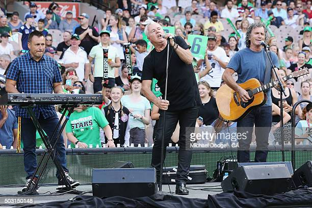 Daryl Braithwaite performs during the Big Bash League match between the Melbourne Stars and the Melbourne Renegades at Melbourne Cricket Ground on...