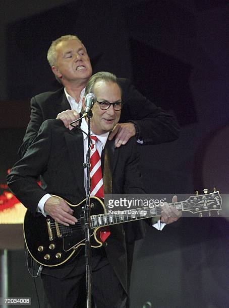 Daryl Braithwaite performs with his band Sherbert at Channel Nine's AFL Grand Final Footy Show at Rod Laver Arena on September 28 2006 in Melbourne...