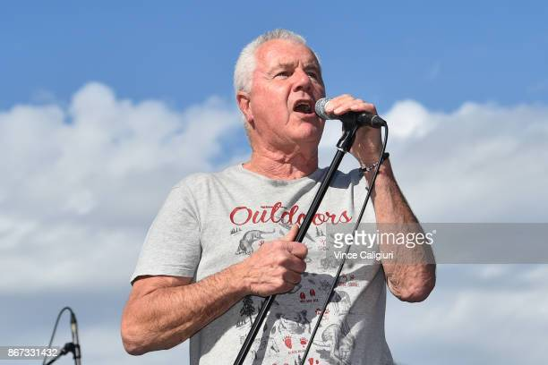 Daryl Braithwaite singing The Horses in front of packed crowd during Cox Plate Day at Moonee Valley Racecourse on October 28 2017 in Melbourne...