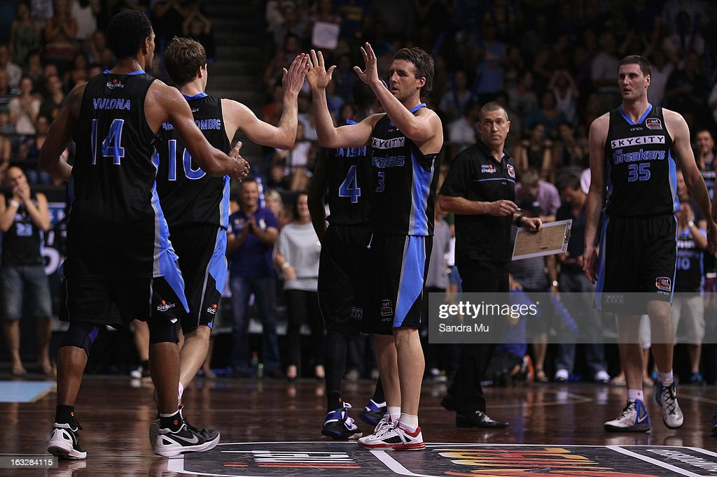 Daryl Corletto of the Breakers supports the team during the round 22 NBL match between the New Zealand Breakers and the Cairns Taipans at North Shore Events Centre on March 7, 2013 in Auckland, New Zealand.