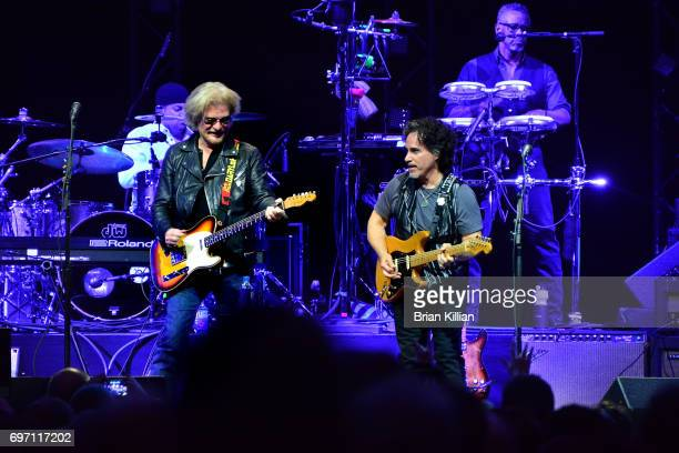 Daryl Hall and John Oates perform during the Daryl Hall John Oats And Tears For Fears Concert at the Prudential Center on June 17 2017 in Newark New...