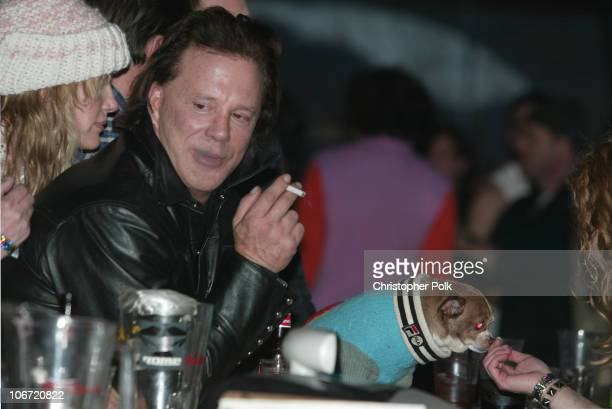 Daryl Hannah and Mickey Rourke during HBO's Sundance Party with Special Guest Beck at Harry O's in Sundance UT United States