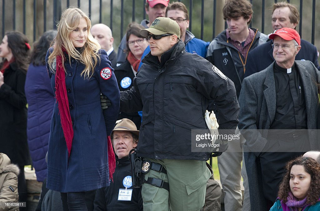 Daryl Hannah is arrested during the Keystone XL Pipeline Protest at Lafayette Park on February 13, 2013 in Washington, DC.