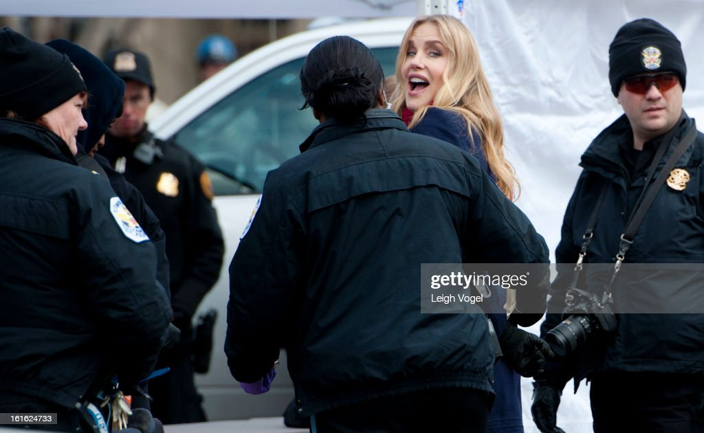 Daryl Hannah is handcuffed and arrested during the Keystone XL Pipeline Protest at Lafayette Park on February 13, 2013 in Washington, DC.