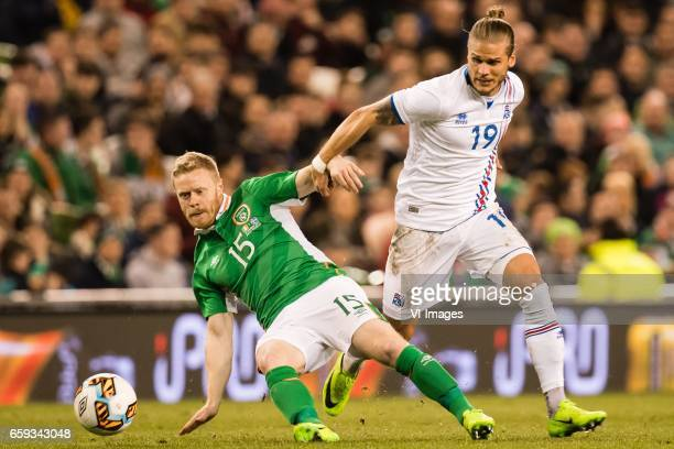 Daryl Horgan of Ireland Rurik Gislason of Icelandduring the friendly match between Ireland and Iceland on March 28 2017 at the Aviva stadium in...