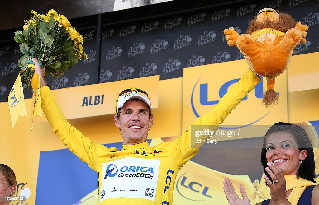 <a gi-track='captionPersonalityLinkClicked' href=/galleries/search?phrase=Daryl+Impey&family=editorial&specificpeople=8630837 ng-click='$event.stopPropagation()'>Daryl Impey</a> of South Africa and Team Orica GreenEdge retains the yellow jersey after Stage Seven of the Tour de France 2013, the 100th Tour de France, a 205 km road stage from Montpellier to Albi on July 5, 2013 in Albi, France.