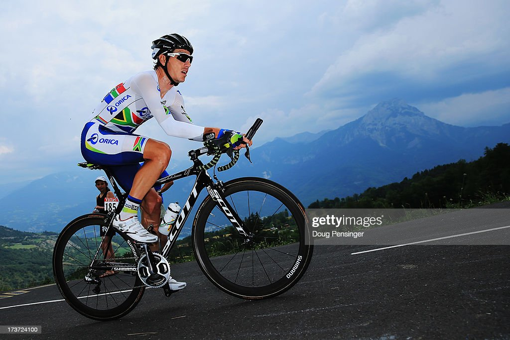 <a gi-track='captionPersonalityLinkClicked' href=/galleries/search?phrase=Daryl+Impey&family=editorial&specificpeople=8630837 ng-click='$event.stopPropagation()'>Daryl Impey</a> of South Africa and Team Orica GreenEdge rides during stage seventeen of the 2013 Tour de France, a 32KM Individual Time Trial from Embrun to Chorges, on July 17, 2013 in Chorges, France.