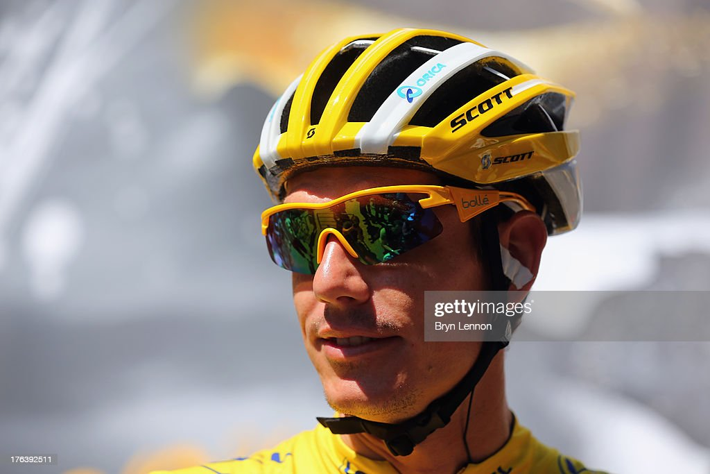 <a gi-track='captionPersonalityLinkClicked' href=/galleries/search?phrase=Daryl+Impey&family=editorial&specificpeople=8630837 ng-click='$event.stopPropagation()'>Daryl Impey</a> of South Africa and the Orica Greenedge team during is seen at the start of stage eight of the 2013 Tour de France, a 195KM road stage from Castres to Ax 3 Domaines, on July 6, 2013 in Castres, France.