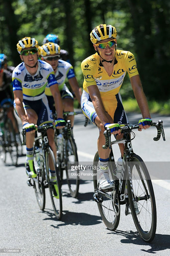 <a gi-track='captionPersonalityLinkClicked' href=/galleries/search?phrase=Daryl+Impey&family=editorial&specificpeople=8630837 ng-click='$event.stopPropagation()'>Daryl Impey</a> of South Africa riding for Orica-GreenEDGE ride in the peloton as he defended the overall race leader's yellow jersey in stage seven of the 2013 Tour de France, a 205.5KM road stage from Montpellier to Albi, on July 5, 2013 in Albi, France.
