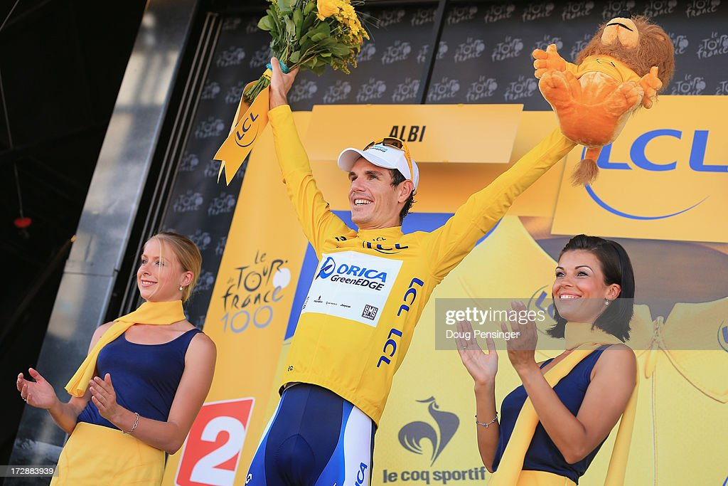 Daryl Impey of South Africa riding for Orica-GreenEDGE takes the podium after defending the overall race leader's yellow jersey in stage seven of the 2013 Tour de France, a 205.5KM road stage from Montpellier to Albi, on July 5, 2013 in Albi, France.