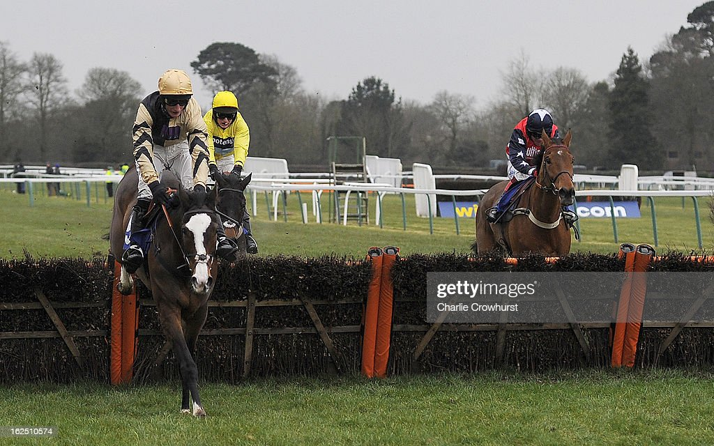 Daryl Jacob clears the last on Prospect Wells to win The totepool national spirit hurdle race at Fontwell Park racecourse on February 24, 2013 in Fontwell, England.