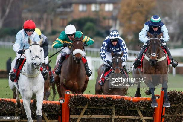 Daryl Jacob riding A Hare Breath clear the last to win The Jumeirah Hotels And resorts December Handicap Hurdle Race at Sandown Park racecourse on...