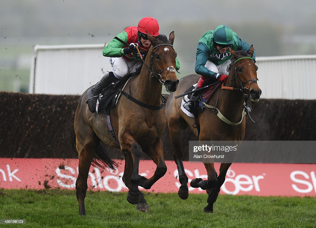 Daryl Jacob riding Dodging Bullets (L) clear the last to win The Racing Post Arkle Trophy Trial Steeple Chase from Raya Star (R) at Cheltenham racecourse on November 17, 2013 in Cheltenham, England.