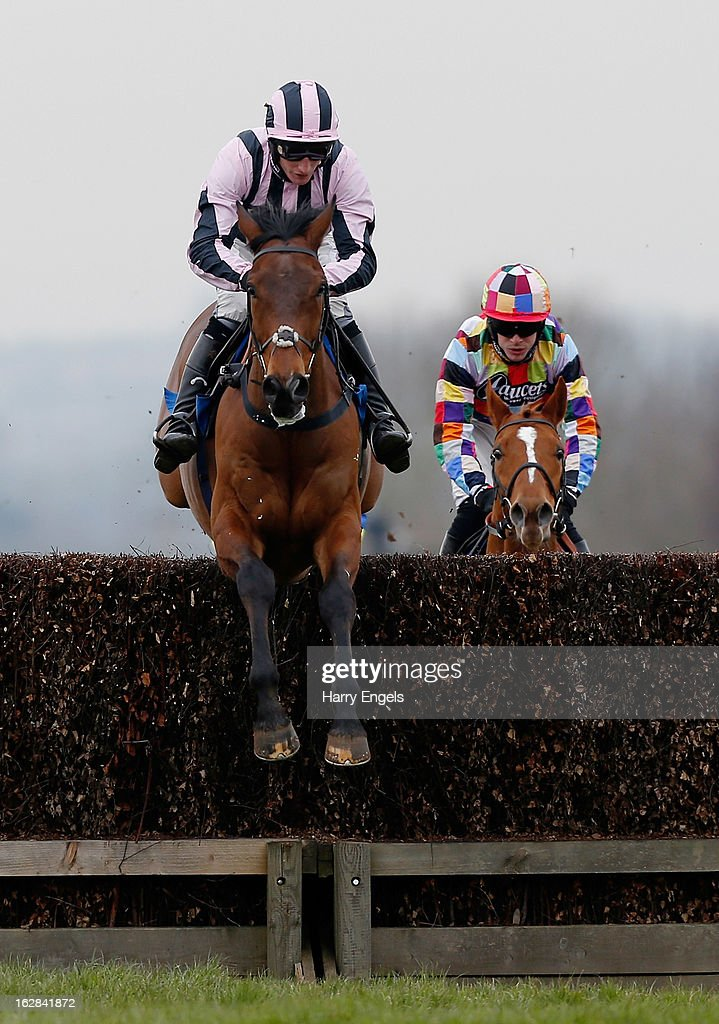 Daryl Jacob riding Jump City in action during 'The Royal Bath & West Novices' Steeple Chase' at Taunton Racecourse on February 28, 2013 in Taunton, England.