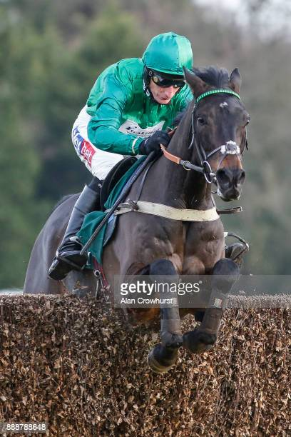 Daryl Jacob riding Sceau Royal clear the last to win The Randoxhealthcom Henry VII Novicesâ Steeple Chase at Sandown Park racecourse on December 9...