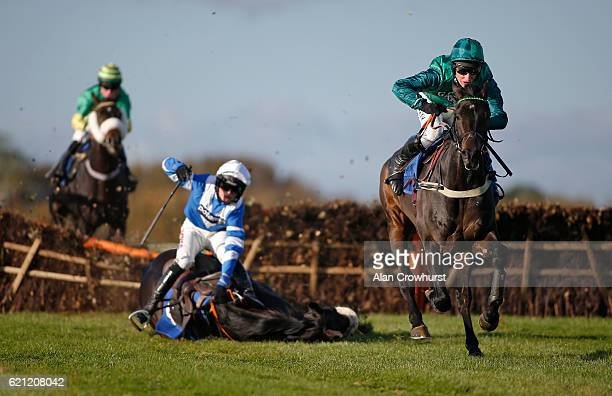 Daryl Jacob riding Sceau Royal clear the last to win The Stan James Elite Hurdle Race as Harry Cobden riding Zubayr fall at the last at Wincanton...