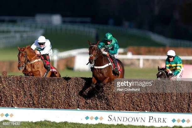 Daryl Jacob riding Top Notch clear the last to win The Betfred TV Scilly Isles Novicesâ Steeple Chase at Sandown Park on February 4 2017 in Esher...