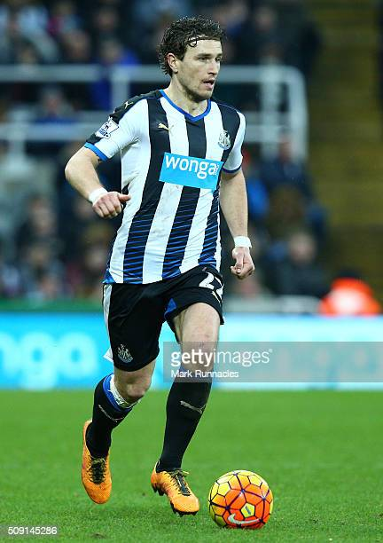 Daryl JanMaat in action during the Barclays Premier League match between Newcastle United FC and West Bromwich Albion FC at St James' Park on...