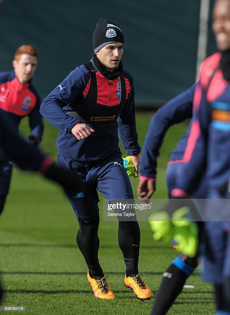 <a gi-track='captionPersonalityLinkClicked' href=/galleries/search?phrase=Daryl+Janmaat&family=editorial&specificpeople=6134960 ng-click='$event.stopPropagation()'>Daryl Janmaat</a> looks on during the Newcastle United Training session at The Newcastle United Training Centre on February 12, 2016, in Newcastle upon Tyne, England.