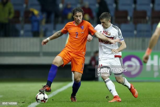 Daryl Janmaat of Holland Aleksandr Karnitski of Belarus during the FIFA World Cup 2018 qualifying match between Belarus and Netherlands on October 07...