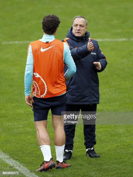 Daryl Janmaat of Holland coach Dick Advocaat of Holland during a training session prior to the FIFA World Cup 2018 qualifying match between Belarus...
