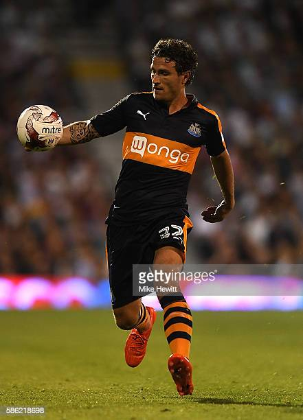 Daryl Janmaat of Newcastle in action during the Sky Bet Championship match between Fulham and Newcastle United at Craven Cottage on August 5 2016 in...