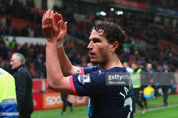 Daryl Janmaat of Newcastle United acknowledges the fans after the Barclays Premier League match between Stoke City and Newcastle United at the...