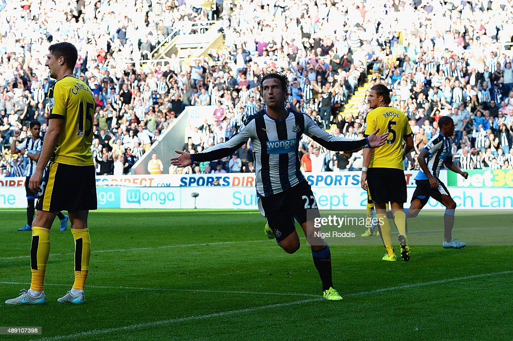 <a gi-track='captionPersonalityLinkClicked' href=/galleries/search?phrase=Daryl+Janmaat&family=editorial&specificpeople=6134960 ng-click='$event.stopPropagation()'>Daryl Janmaat</a> of Newcastle United celebrates scoring his team's first goal during the Barclays Premier League match between Newcastle United and Watford at St James' Park on September 19, 2015 in Newcastle upon Tyne, United Kingdom.