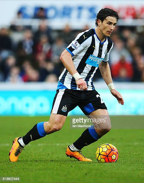 Daryl Janmaat of Newcastle United controls the ball during the Barclays Premier League match between Newcastle United and AFC Bournemouth at St James...
