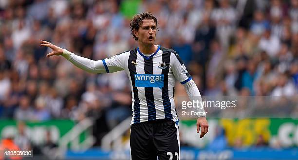 Daryl Janmaat of Newcastle United in action during the Barclays Premier League match between Newcastle United and Southampton at St James Park on...