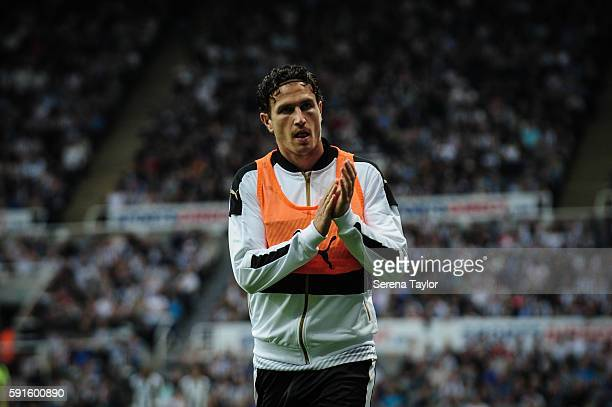 Daryl Janmaat of Newcastle United warms up during the Sky Bet Championship match between Newcastle United and Reading at StJames' Park on August 17...
