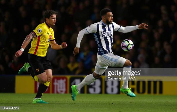 Daryl Janmaat of Watford and Matt Phillips of West Bromwich Albion during the Premier League match between Watford and West Bromwich Albion at...
