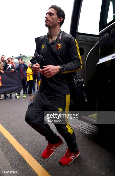 Daryl Janmaat of Watford arrives at the stadium prior to the Premier League match between Watford and West Bromwich Albion at Vicarage Road on April...
