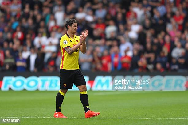 Daryl Janmaat of Watford claps the fans as he walks off the pitch to be subbed during the Premier League match between Watford and Manchester United...