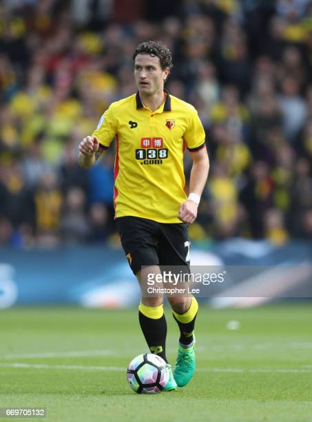 Daryl Janmaat of Watford in action during the Premier League match between Watford and Swansea City at Vicarage Road on April 15 2017 in Watford...